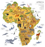 Flat Africa flora and fauna map constructor elements. Animals, b Royalty Free Stock Photos