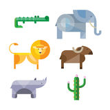 Flat African Animals and Plants. Geometric Style Royalty Free Stock Images