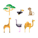 Flat African Animals and Plants. Geometric Style Stock Photos