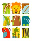 Flat African Animals Symbols Set Royalty Free Stock Photos