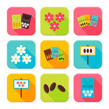 Flat Agriculture and Flowers Squared App Icons Set Stock Image