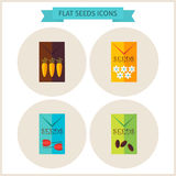Flat Agriculture Seeds Website Icons Set Stock Photos