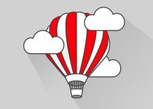 Flat air balloon in flight. Simple style. Royalty Free Stock Photo