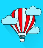 Flat air balloon in flight. Simple style. Stock Images