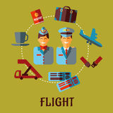 Flat air traveling infographic with text Flight Royalty Free Stock Photos