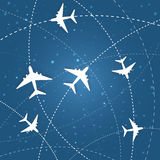 Flat airplane drawing cicle patch Stock Photo
