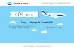 Flat airplane with 404 error notification Stock Images
