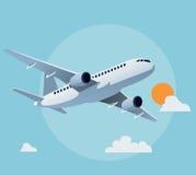 Flat airplane illustration Stock Photography