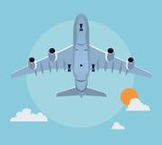 Flat airplane illustration Royalty Free Stock Image