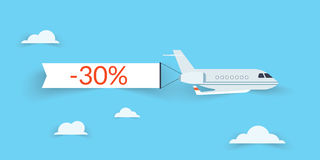 Flat airplane with shadow. And white banner for sale vector illustration
