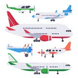 Flat airplanes. Aviation float airplane, private air plane and jet aircraft isolated vector illustration set vector illustration