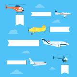 Flat airplanes set Royalty Free Stock Images