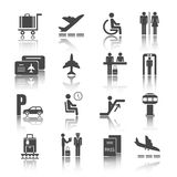 Flat airport icons set Stock Photography