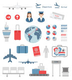 Flat airport infographic elements and icons vector Royalty Free Stock Images