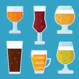 Flat Alcohol Beer icons vector. Illustration Stock Photo