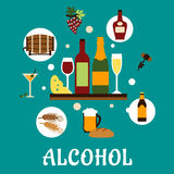 Flat alcohol drinks with snacks Stock Photo