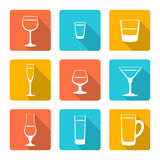 Flat alcohol glasses icons. Vector various color flat style alcohol glasses icons with shadow Royalty Free Stock Photos