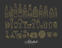 Flat alcohol icons gold Royalty Free Stock Photo
