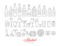 Flat alcohol icons vector illustration
