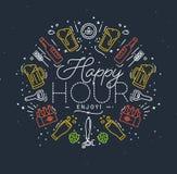 Flat alcohol monogram happy royalty free illustration