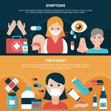 Flat Allergy Banners. Flat design set of banners with symptoms and treatment for people suffering from allergy isolated vector illustration Stock Photography