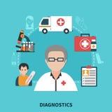 Flat Allergy Concept. Colorful flat design allergy diagnostics concept on blue background vector illustration Stock Photography
