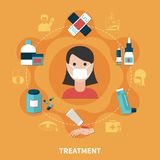 FLat Allergy Concept. Allergy symptoms and various ways of treatment concept on orange background flat vector illustration Stock Photography