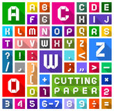 Flat Alphabet cut of paper, flat style. Roman alphabet and Arabic numerals of paper, cut out, white symbols on multicolored backgrounds, vector illustration Royalty Free Stock Photos