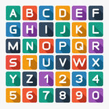 Flat alphabet rounded. Isolated on white. Vector illustration royalty free illustration