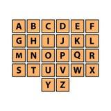 Flat alphabet tiles set. Every letter royalty free illustration