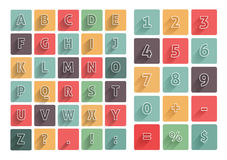 Flat alphabet A-Z icons set with long shadow Royalty Free Stock Photo