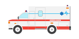 Flat ambulance car emergency auto Stock Photography