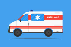 Flat ambulance car. Isolated on blue background. Medical healthcare concept. Emergency service. Poster, card, leaflet or banner template design with place for Stock Photos