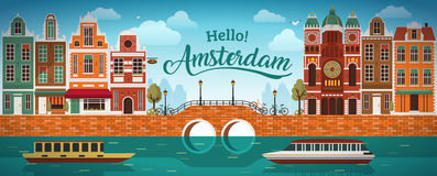 Flat Amsterdam panorama Holland, River sea canal channel bridge boat embankment bicycle multi color street. Stock Photography