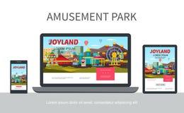 Flat Amusement Park Adaptive Design Concept vector illustration