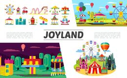 Flat Amusement Park Elements Set. With ferris wheel children electric cars rollercoaster hot air balloons ticket booth castle different attractions and vector illustration