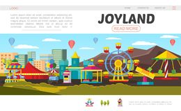 Flat Amusement Park Landing Page Concept royalty free illustration