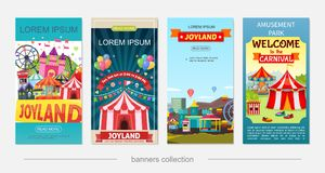 Flat Amusement Park Vertical Banners. With ferris wheel castle horror house rollercoaster children electric cars ticket booth attractions and carousels vector royalty free illustration