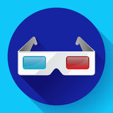 Flat anaglyph 3d glasses vector cinema icon. 3d glasses icon. Flat anaglyph 3d glasses vector cinema icon Stock Photo