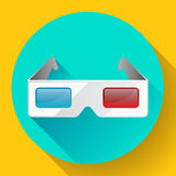 Flat anaglyph 3d glasses vector cinema icon. 3d glasses icon. Flat anaglyph 3d glasses vector cinema icon Royalty Free Stock Photo