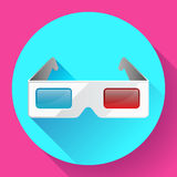 Flat anaglyph 3d glasses vector cinema icon. 3d glasses icon Royalty Free Stock Photography