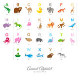 Flat Animal Alphabet. Animal English Alphabet, colorful vector illustration  on white background Royalty Free Stock Photos