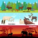 Flat Animal Banners Set Stock Image