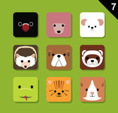 Flat Animal Faces Application Icon Cartoon Vector Set Stock Photos