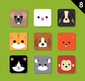 Flat Animal Faces Application Icon Cartoon Vector Set 8 Pet Stock Images