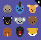Flat Animal Faces Icon Cartoon Vector Set 6 (Australia). Flat Animal Icons EPS10 file format Stock Photos