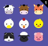 Flat Animal Faces Icon Cartoon Vector Set 1 (Farm Animals) Royalty Free Stock Images