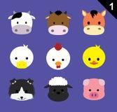 Flat Animal Faces Icon Cartoon Vector Set 1 (Farm Animals) Royalty Free Stock Images