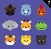 Flat Animal Faces Icon Cartoon Vector Set 2 (Forest). Flat Animal Icons EPS10 file format Royalty Free Stock Photography