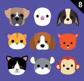 Flat Animal Faces Icon Cartoon Vector Set 8 (Pet) Royalty Free Stock Photography
